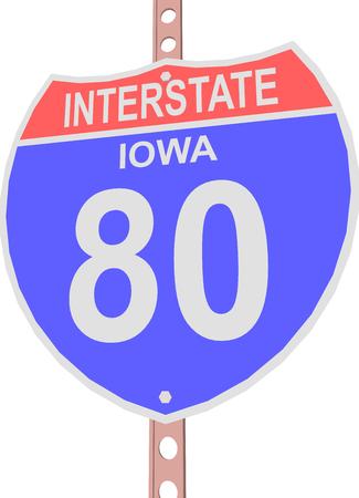 interstate 80: Interstate highway 80 road sign in Iowa Illustration