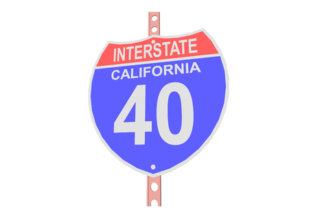 interstate: Interstate highway 40 road sign in California Illustration