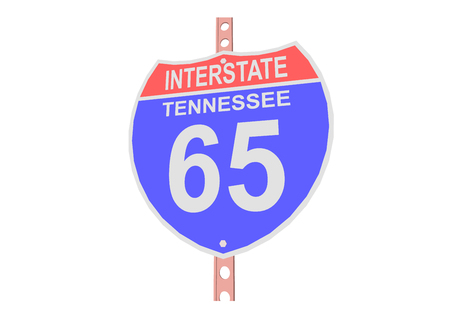 65: Interstate highway 65 road sign in Tennessee Illustration