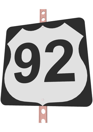 92: US 92 Route sign Illustration