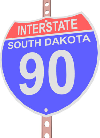 90: Interstate highway 90 road sign in South Dakota