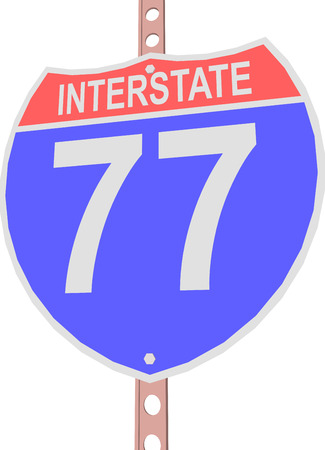motorway: Interstate highway 77 road sign in Illustration