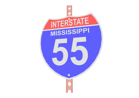 interstate: Interstate highway 55 road sign in Mississippi