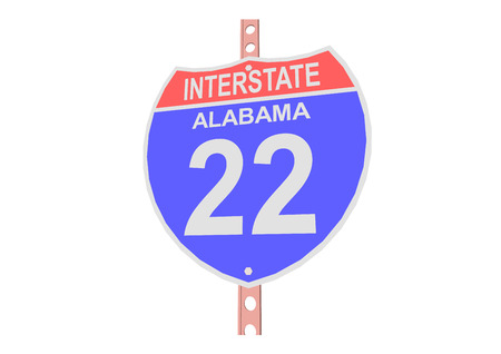 interstate: Interstate highway 22 road sign in Alabama Illustration
