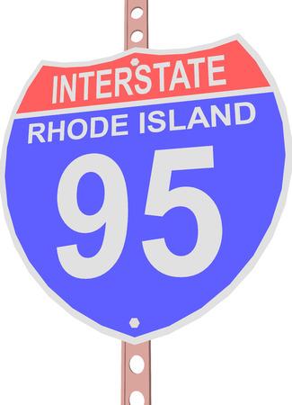 95: Interstate highway 95 road sign in Rhode Island Illustration
