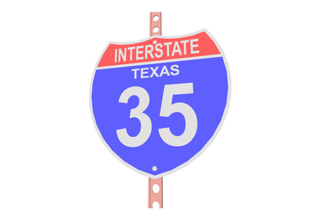 interstate: Interstate highway 35 road sign in Texas