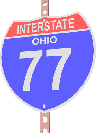 interstate: Interstate highway 77 road sign in Ohio