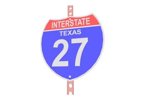 interstate: Interstate highway 27 road sign in Texas