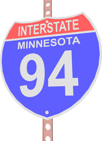 interstate: Interstate highway 94 road sign in Minnesota Illustration