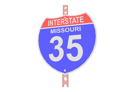 interstate: Interstate highway 35 road sign in Missouri