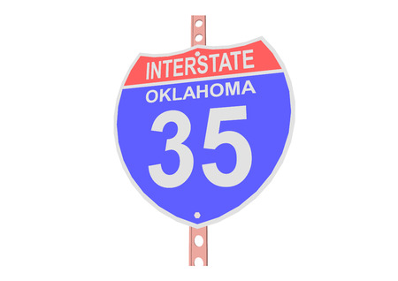 35: Interstate highway 35 road sign in Oklahoma