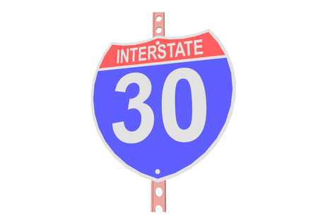 Interstate highway 30 road sign in Illustration