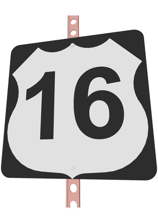 16: US 16 Route sign Illustration
