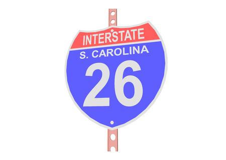 Interstate highway 26 road sign in South Carolina Vetores