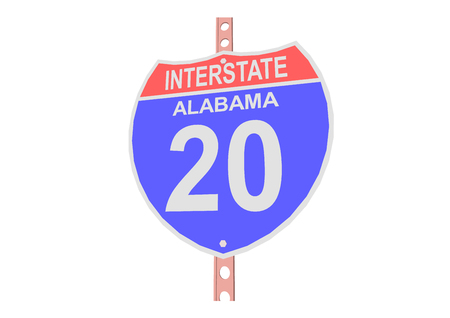 interstate: Interstate highway 20 road sign in Alabama Illustration