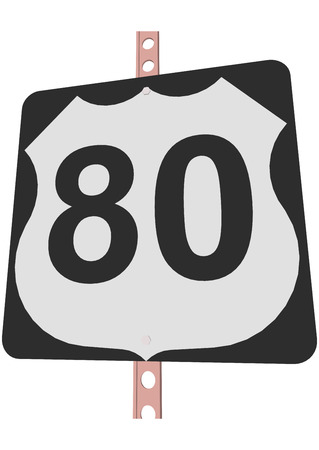 interstate 80: US 80 Route sign Illustration