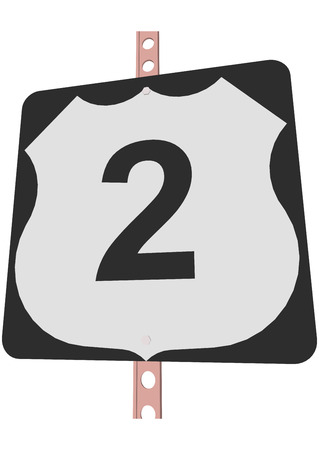 US 2 Route sign Illustration