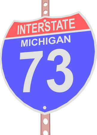 interstate: Interstate highway 73 road sign in Michigan