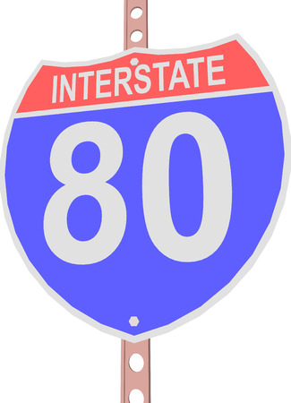 interstate 80: Interstate highway 80 road sign in Illustration