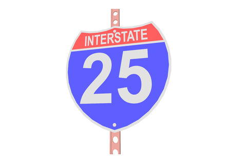 Interstate highway 25 road sign in