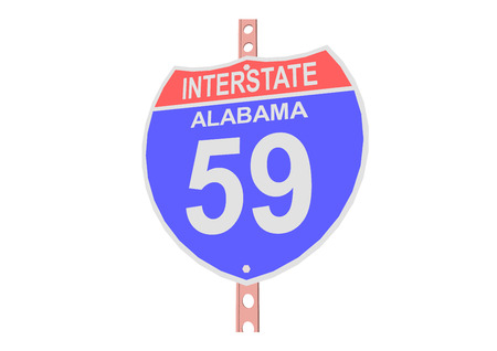 interstate: Interstate highway 59 road sign in Alabama