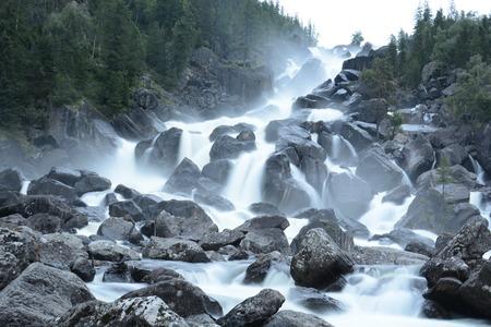 Uchar Waterfall on the Chulcha River, The Big Chulchinsky. Altai, Russia