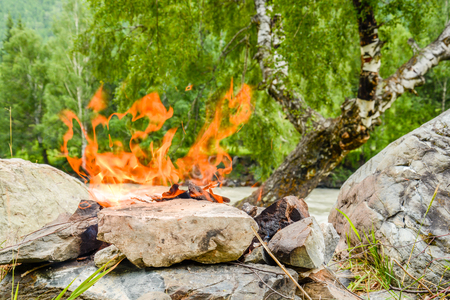 Camp fire. A bonfire diluted in the rocks against the background of the forest. A hot summer day.