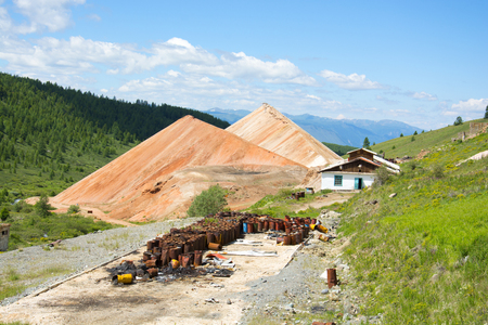 Destroyed building mines in the Altai Mountains. Republic of Altai, Siberia, Russia. Stock Photo