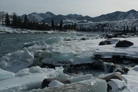 Altai Katun river winter. Panorama big size.