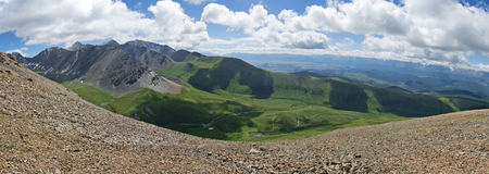Altai mountains landscape from high altitude viewpoint. Aktru ridge. Siberia. Russia. Panorama big size.