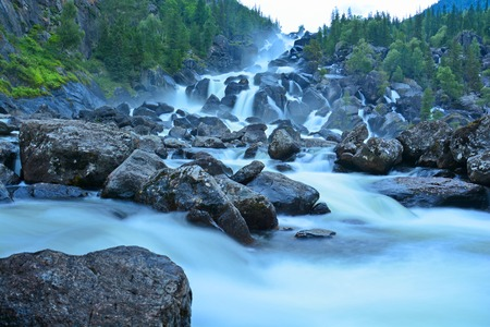 Uchar Waterfall on the Chulcha River, The Big Chulchinsky. Altai, Russia