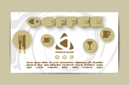 Flyer cover design coffee element, business brochure, business card, leaflet, menu cover, catalog
