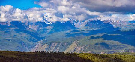 Altai mountains landscape from high altitude viewpoint. Aktru ridge. Siberia. Russia. Panorama big size 版權商用圖片