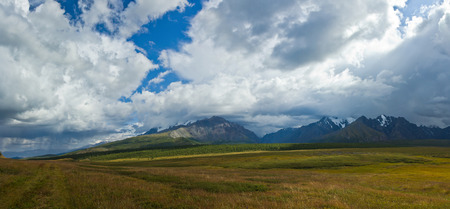 Beautifull valley with view to mountains and  road in Altaj, Russia  at the summer Reklamní fotografie - 95967103