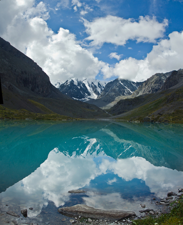 Beautifull valley with view to mountains and  turquoise  lake in Altaj, Russia  at the summer