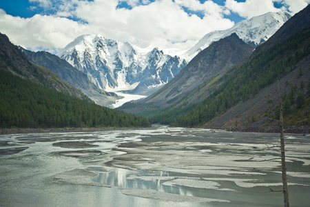 Beautifull valley with view to snow mountains and  clear lake as mirror in Altaj, Russia  at the summer