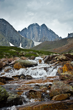 Beautifull  view to mountains  creek and rocks in Altaj, Russia  at the summer Reklamní fotografie