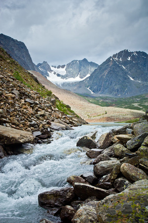 Beautifull  view to mountains  river and summits in Altaj, Russia  at the summer Reklamní fotografie