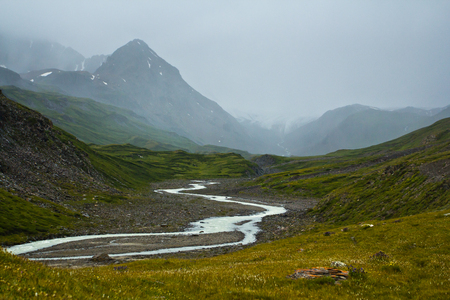 Beautifull valley with view to steppe, river and snow  mountains in Altaj, Russia  at the summer Reklamní fotografie