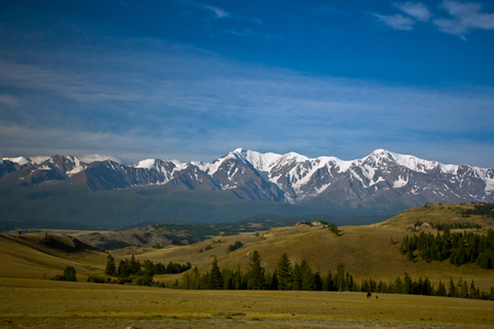 Beautifull valley with view to steppe, forest and snow  mountains in Altaj, Russia  at the summer