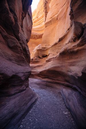 Misterious Red canyon  in the Israil and sun lights and stones in Israil near Eilat with sunlights Reklamní fotografie