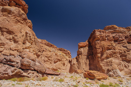 Way to Red canyon  in the Israil in sunny day with blue sky near Eilat