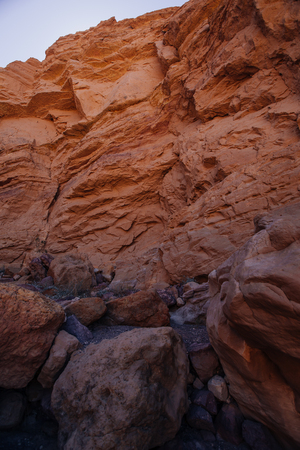 Dry waterfall in Red canyon  in the Israil in sunny day with blue sky near Eilat