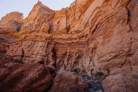 Dry waterfall in the Red canyon  in the Israil in sunny day with blue sky near Eilat