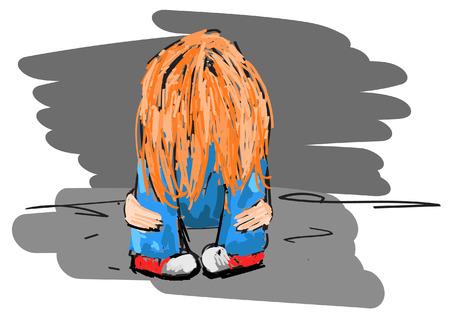 alone in the dark: Illustration of sad teenager on white background, vector illustration.