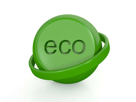 Green eco sphrere icon isolated on white background photo