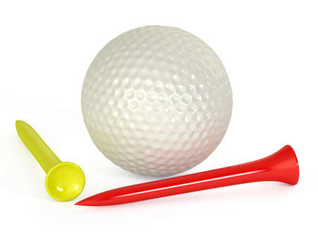 golf balls and tees isolated photo