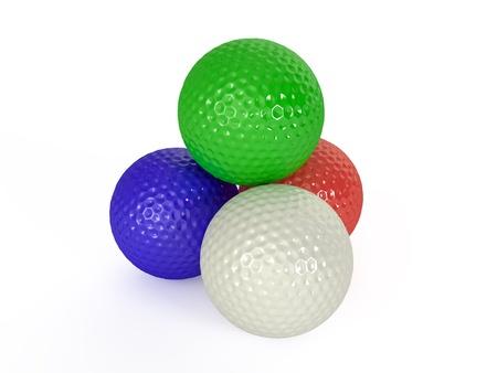 Colour golf balls isolated 3d illustration Stock Photo