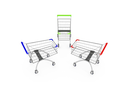 mart: Metal shopping trolleys isolated on white
