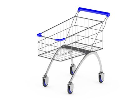 mart: Metal shopping trolley isolated on white Stock Photo